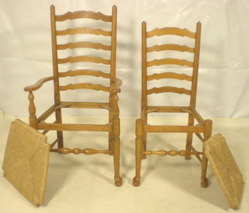 All Wood Dining Room Chairs: Set Of Six Light Wood Ladderback Dining Chairs